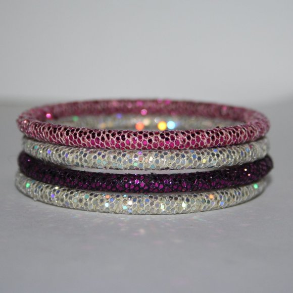 Glittery white pink purple bangle bracelet set 7""